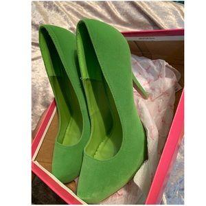 Lime velvet high heel pumps Size 8.5